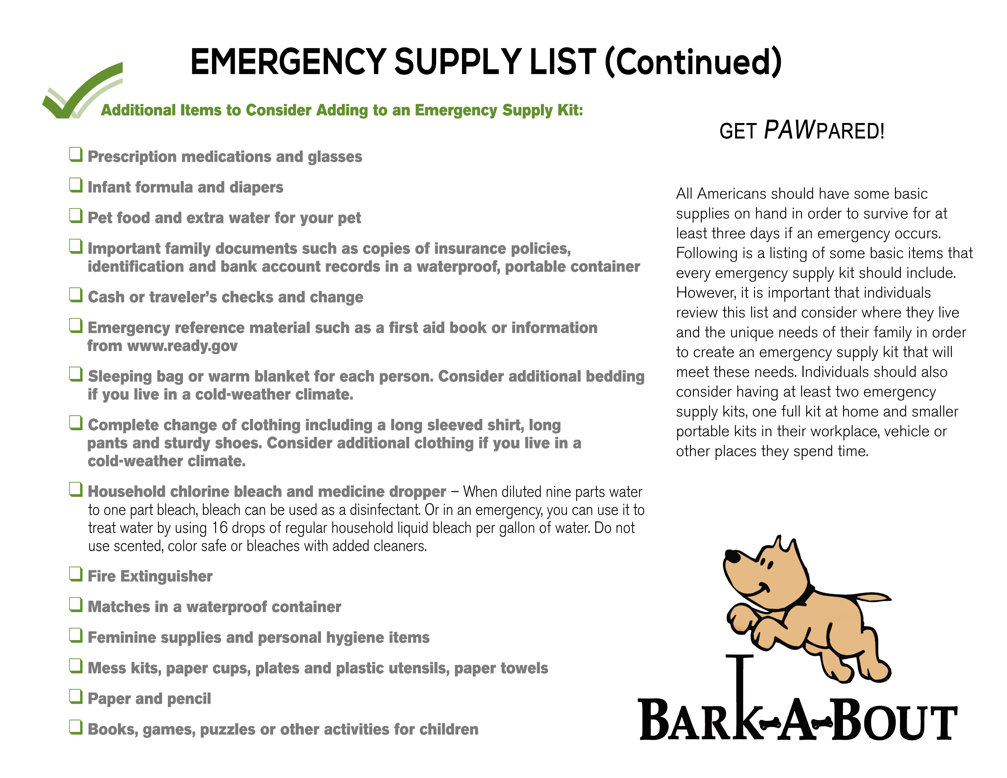 Bark A Bout Pet Emergency Prep